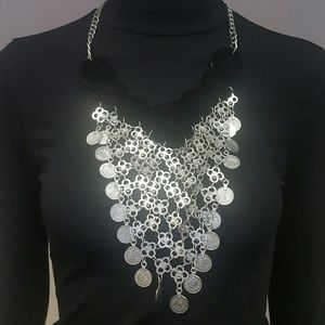 Silver and Black Velvet Bib Necklace Set (NWT)